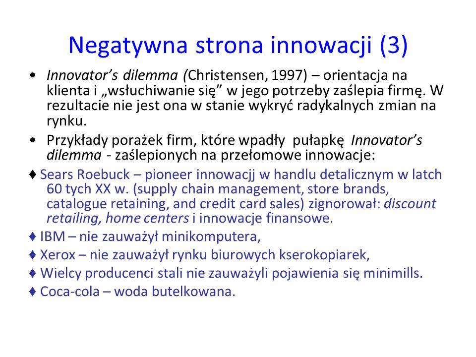 """Negatywna strona innowacji (3) Innovator's dilemma (Christensen, 1997) – orientacja na klienta i """"wsłuchiwanie się w jego potrzeby zaślepia firmę."""