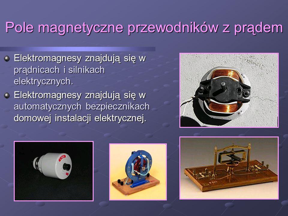 Pole magnetyczne przewodników z prądem Elektromagnesy znajdują się w prądnicach i silnikach elektrycznych.