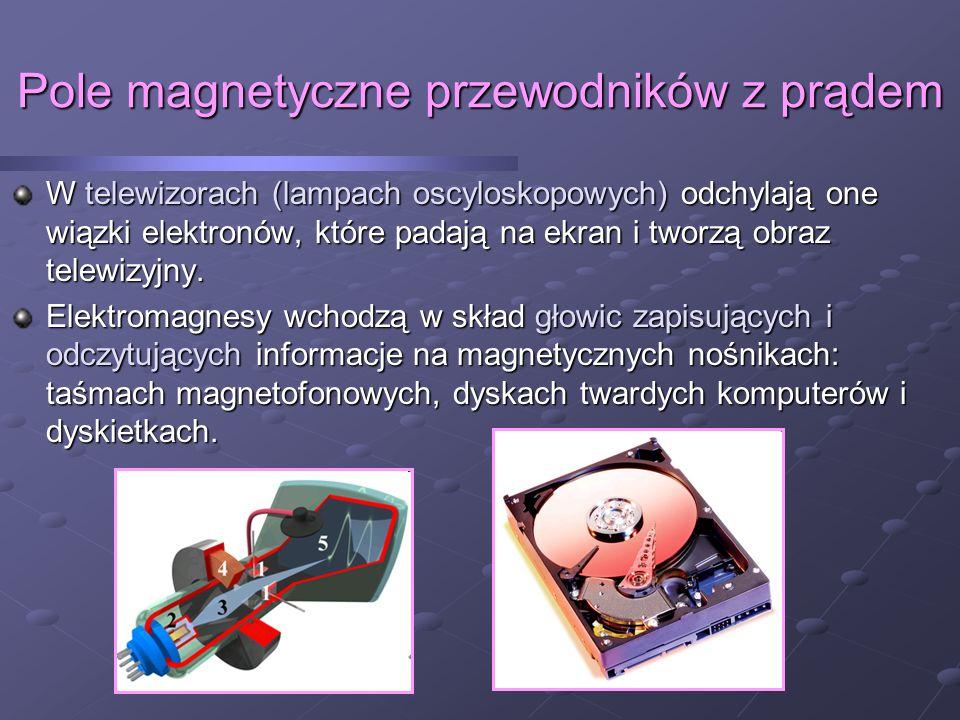 Pole magnetyczne przewodników z prądem W telewizorach (lampach oscyloskopowych) odchylają one wiązki elektronów, które padają na ekran i tworzą obraz telewizyjny.