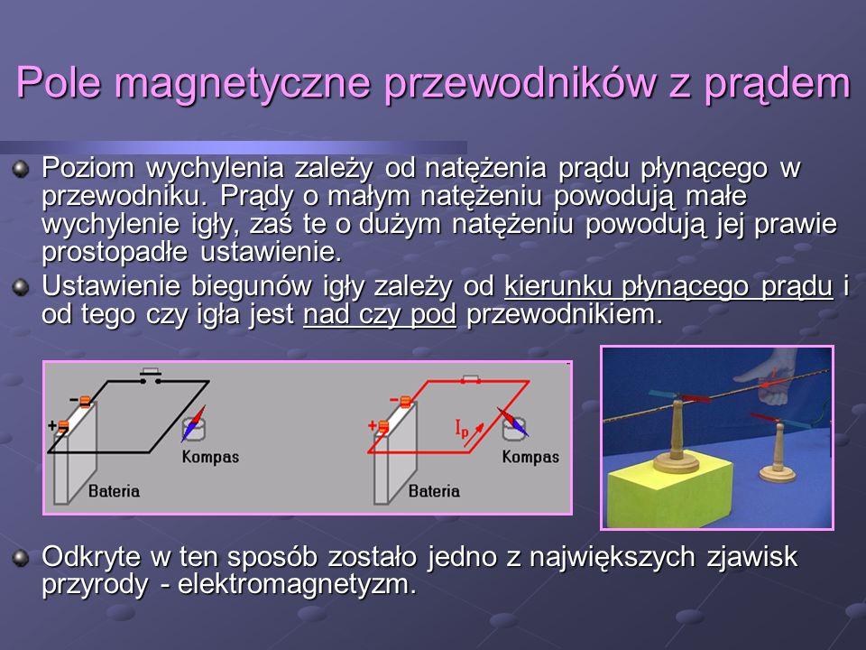 Pole magnetyczne przewodników z prądem Wokół przewodnika, w którym płynie prąd występuje pole magnetyczne.