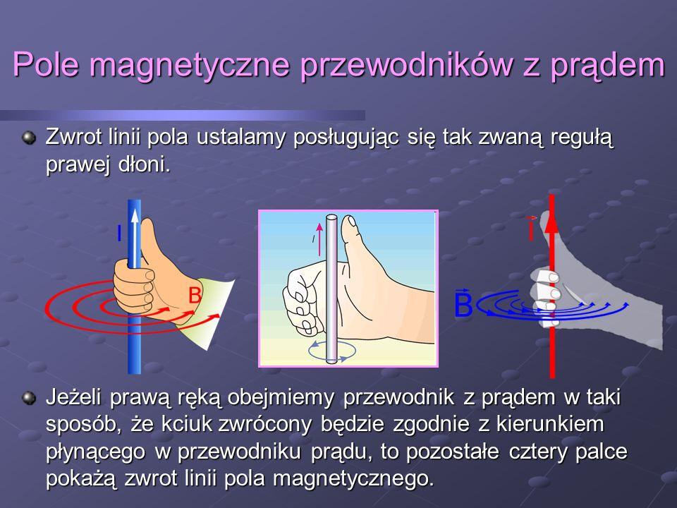 Pole magnetyczne przewodników z prądem Zapamiętaj: Pole magnetyczne wokół prostoliniowego przewodnika z prądem ma kształt współśrodkowych (koncentrycznych) okręgów.