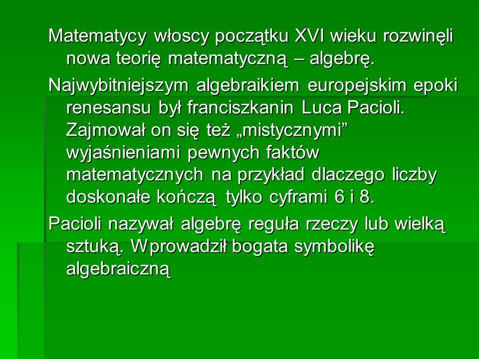 Matematycy włoscy początku XVI wieku rozwinęli nowa teorię matematyczną – algebrę.