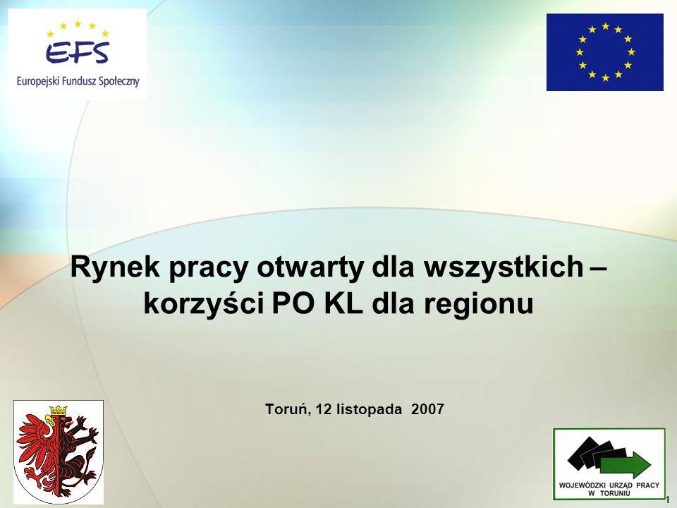 1 Toruń, 12 listopada 2007 Rynek pracy otwarty dla wszystkich – korzyści PO KL dla regionu