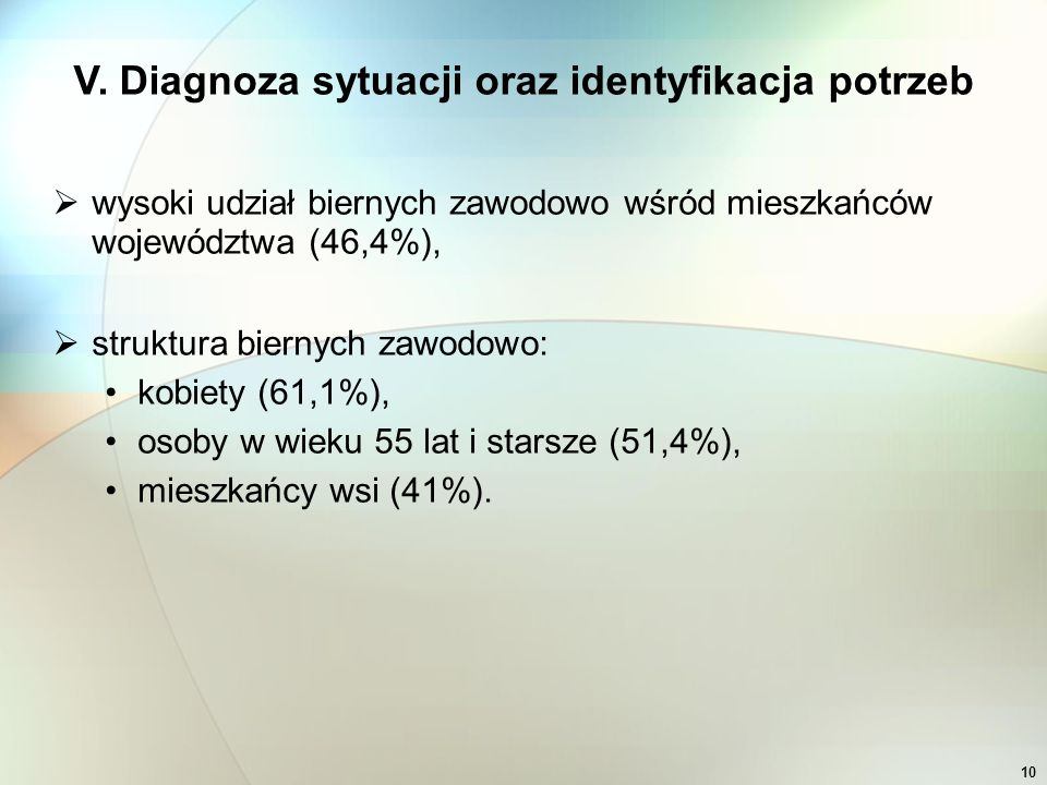 10  wysoki udział biernych zawodowo wśród mieszkańców województwa (46,4%),  struktura biernych zawodowo: kobiety (61,1%), osoby w wieku 55 lat i starsze (51,4%), mieszkańcy wsi (41%).