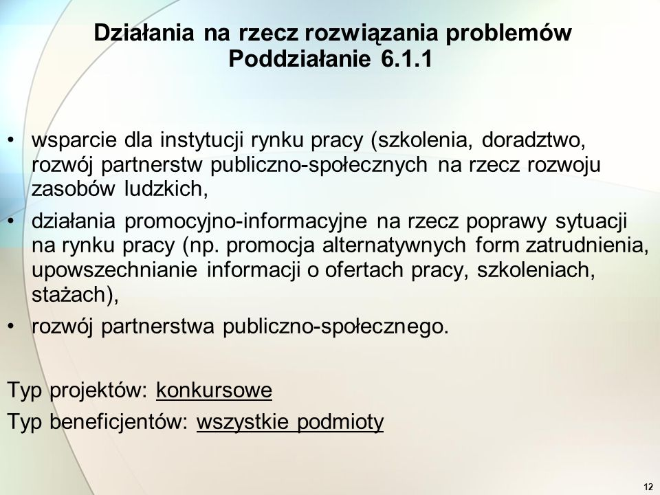 12 wsparcie dla instytucji rynku pracy (szkolenia, doradztwo, rozwój partnerstw publiczno-społecznych na rzecz rozwoju zasobów ludzkich, działania pro