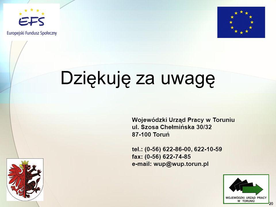 20 Dziękuję za uwagę Wojewódzki Urząd Pracy w Toruniu ul. Szosa Chełmińska 30/32 87-100 Toruń tel.: (0-56) 622-86-00, 622-10-59 fax: (0-56) 622-74-85