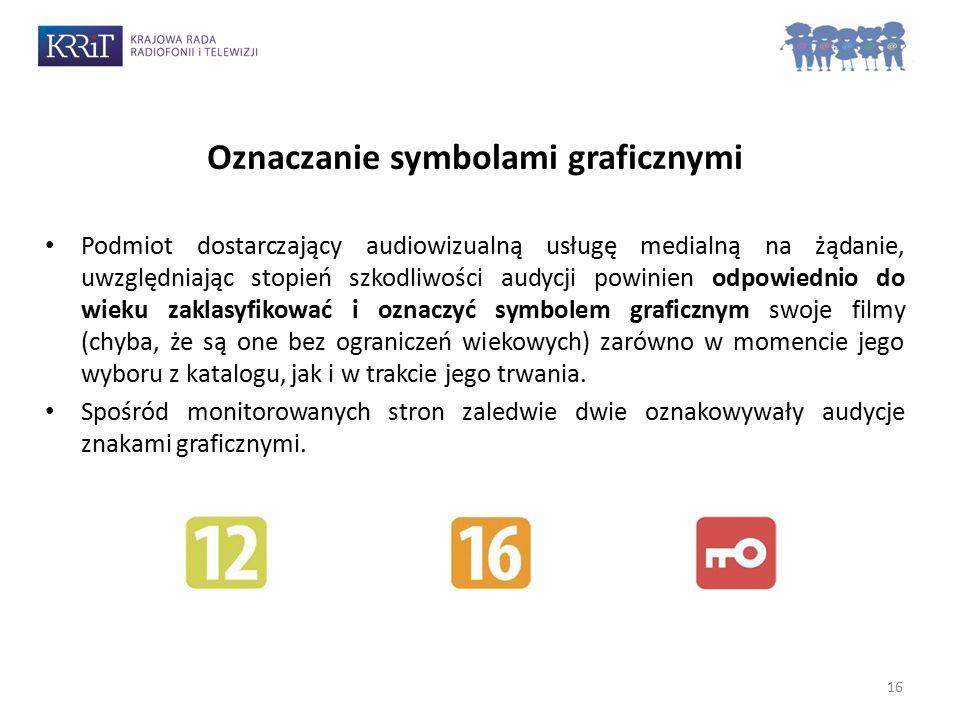 Oznaczanie symbolami graficznymi O 16 Podmiot dostarczający audiowizualną usługę medialną na żądanie, uwzględniając stopień szkodliwości audycji powinien odpowiednio do wieku zaklasyfikować i oznaczyć symbolem graficznym swoje filmy (chyba, że są one bez ograniczeń wiekowych) zarówno w momencie jego wyboru z katalogu, jak i w trakcie jego trwania.