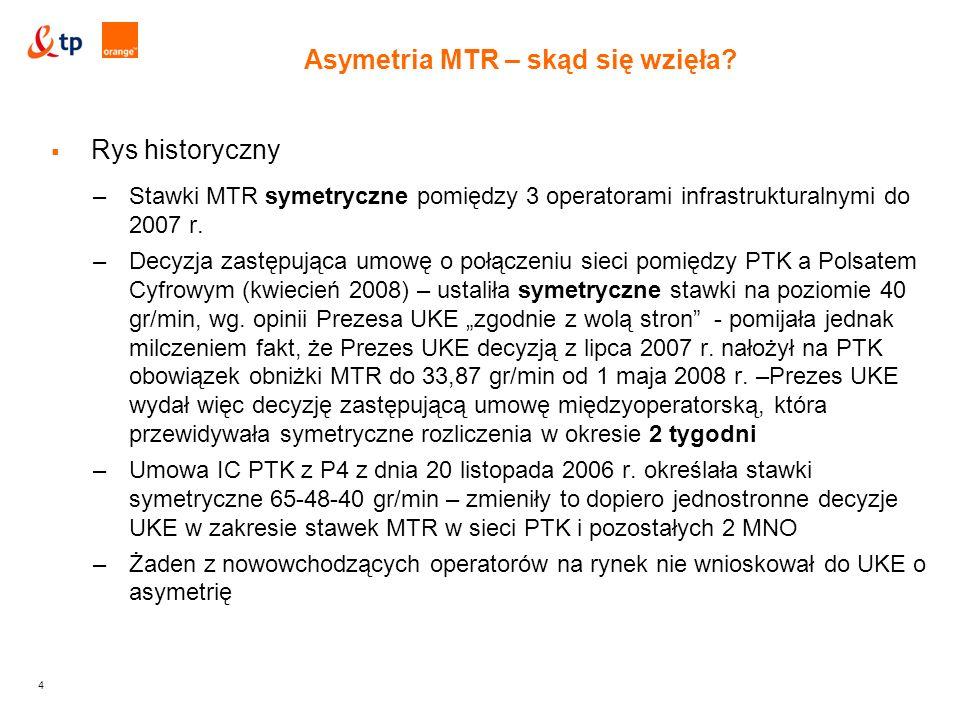 4  Rys historyczny –Stawki MTR symetryczne pomiędzy 3 operatorami infrastrukturalnymi do 2007 r.