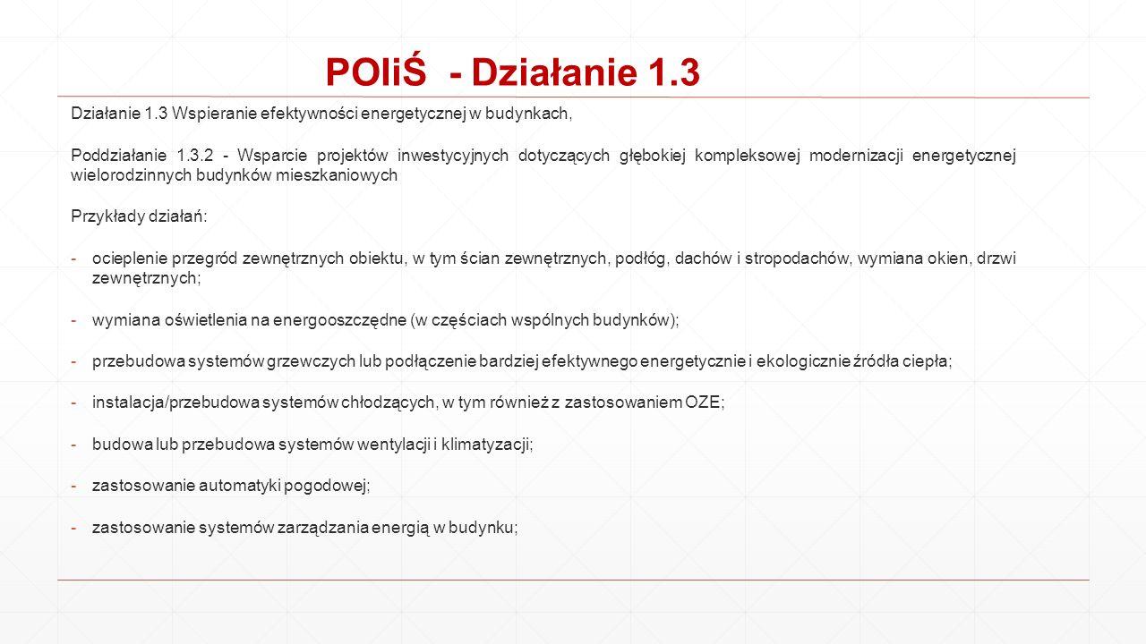 POIiŚ - Działanie 1.3 Działanie 1.3 Wspieranie efektywności energetycznej w budynkach, Poddziałanie 1.3.2 - Wsparcie projektów inwestycyjnych dotycząc
