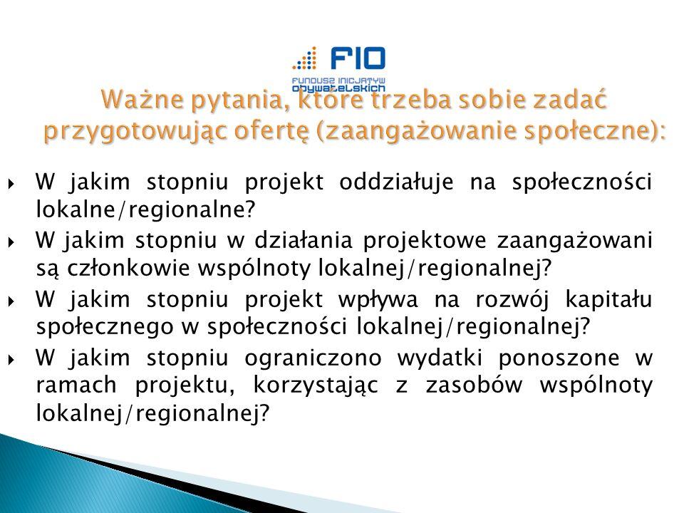  W jakim stopniu projekt oddziałuje na społeczności lokalne/regionalne.