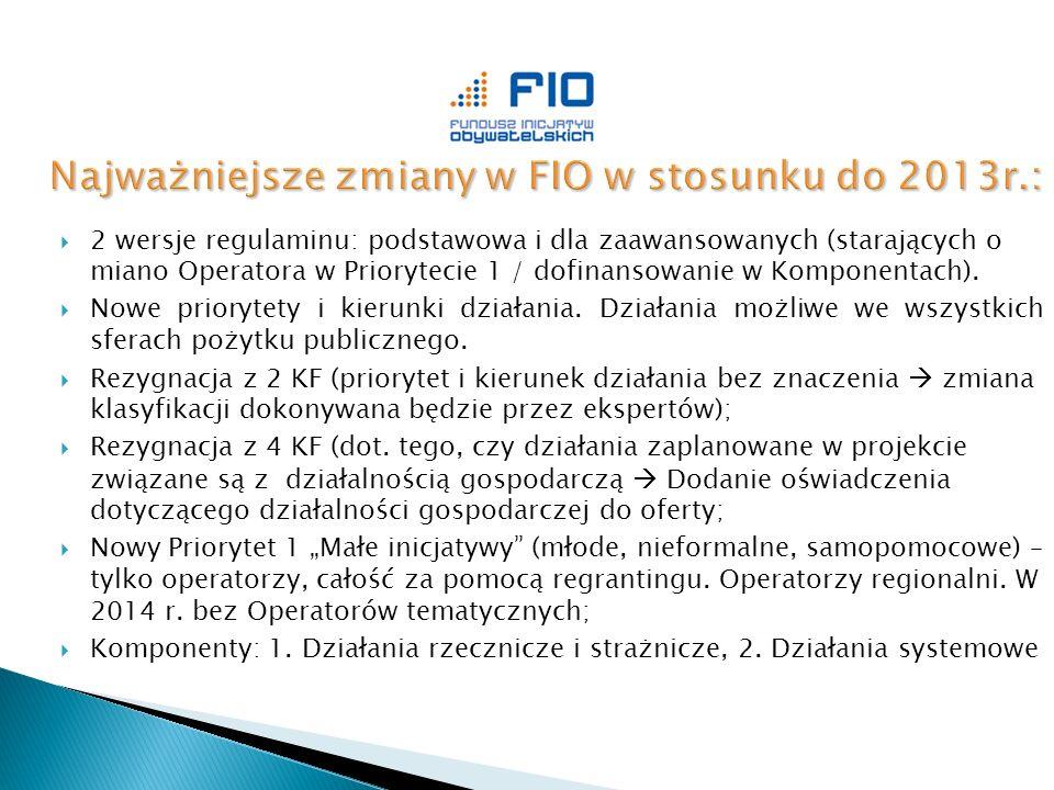  2 wersje regulaminu: podstawowa i dla zaawansowanych (starających o miano Operatora w Priorytecie 1 / dofinansowanie w Komponentach).