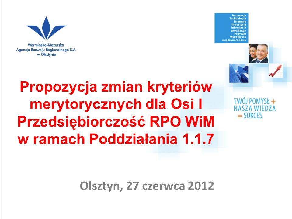 Olsztyn, 27 czerwca 2012 Propozycja zmian kryteriów merytorycznych dla Osi I Przedsiębiorczość RPO WiM w ramach Poddziałania 1.1.7