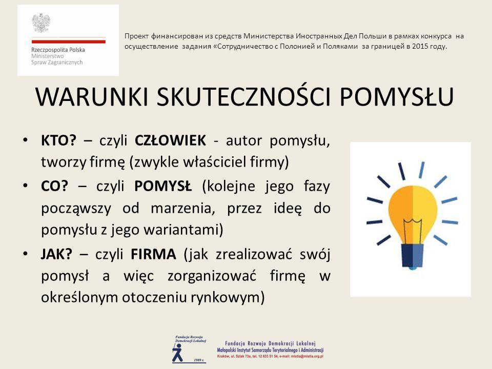 KTO. – czyli CZŁOWIEK - autor pomysłu, tworzy firmę (zwykle właściciel firmy) CO.
