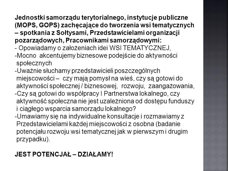 Jednostki samorządu terytorialnego, instytucje publiczne (MOPS, GOPS) zachęcające do tworzenia wsi tematycznych – spotkania z Sołtysami, Przedstawicie