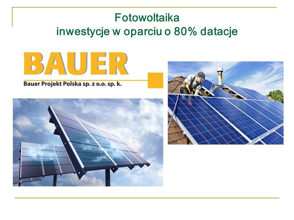 Fotowoltaika inwestycje w oparciu o 80% datacje