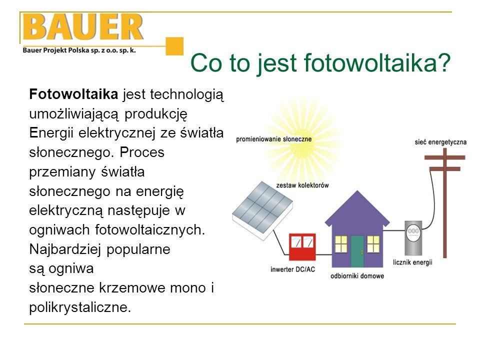 Schemat instalacji W skład instalacji solarnej wchodzą:  Moduły fotowoltaiczne- zamieniają energię promieniowania słonecznego na energię prądu elektrycznego,  Inwerter (przekształtnik) prądu stałego produkowanego w ogniwach fotowoltaicznych na prąd zmienny o parametrach zgodnych z prądem z sieci elektroenergetycznej,  Bateria akumulatorów- jest niezbędny w przypadku sieci wydzielonych i służy do magazynowania wyprodukowanej energii,  Regulator ładowania- odpowiada za kontrolę ładowania i rozładowania akumulatorów,  Licznik energii elektrycznej- niezbędny jest w przypadku instalacji on grid, gdzie istnieje konieczność zliczenia energii dostarczeni i odebranej z sieci elektroenergetycznej.