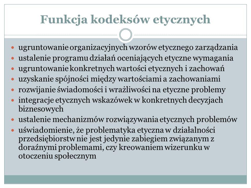 Funkcja kodeksów etycznych ugruntowanie organizacyjnych wzorów etycznego zarządzania ustalenie programu działań oceniających etyczne wymagania ugrunto