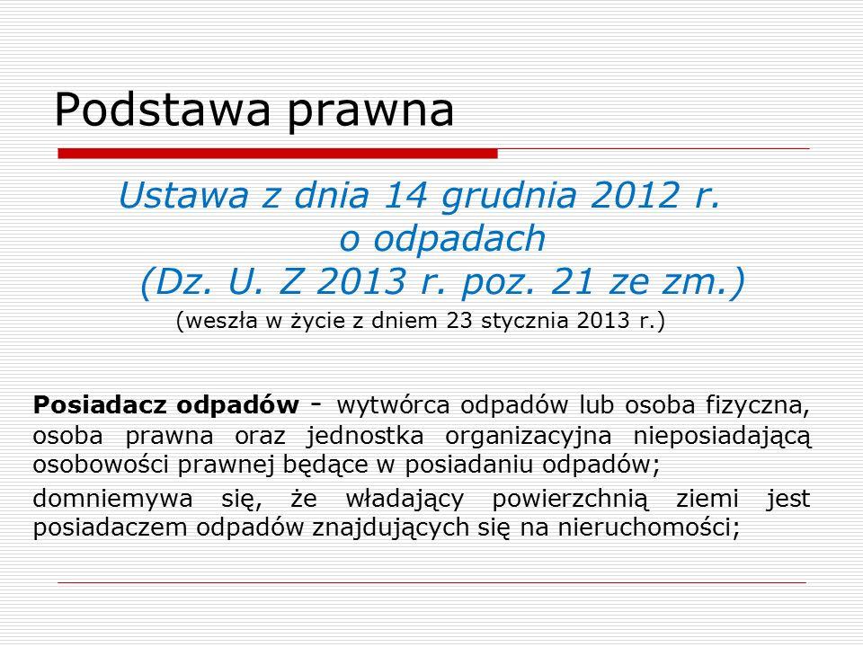 Podstawa prawna Ustawa z dnia 14 grudnia 2012 r. o odpadach (Dz.