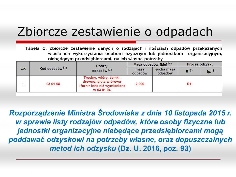 Zbiorcze zestawienie o odpadach Rozporządzenie Ministra Środowiska z dnia 10 listopada 2015 r.