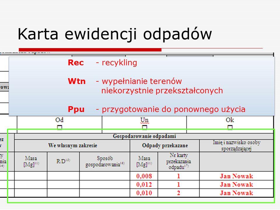 Karta ewidencji odpadów Rec- recykling Wtn- wypełnianie terenów niekorzystnie przekształconych Ppu - przygotowanie do ponownego użycia Rec- recykling Wtn- wypełnianie terenów niekorzystnie przekształconych Ppu - przygotowanie do ponownego użycia