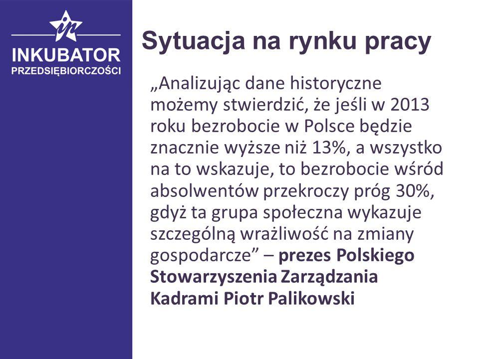 """Sytuacja na rynku pracy """"Analizując dane historyczne możemy stwierdzić, że jeśli w 2013 roku bezrobocie w Polsce będzie znacznie wyższe niż 13%, a wszystko na to wskazuje, to bezrobocie wśród absolwentów przekroczy próg 30%, gdyż ta grupa społeczna wykazuje szczególną wrażliwość na zmiany gospodarcze – prezes Polskiego Stowarzyszenia Zarządzania Kadrami Piotr Palikowski"""