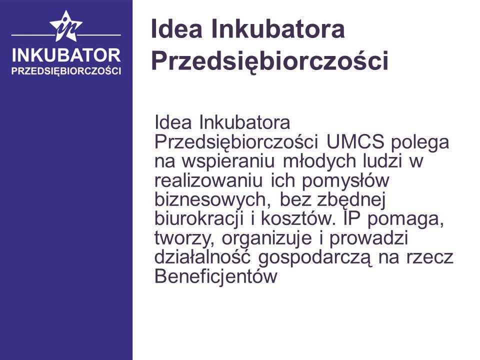 Idea Inkubatora Przedsiębiorczości Idea Inkubatora Przedsiębiorczości UMCS polega na wspieraniu młodych ludzi w realizowaniu ich pomysłów biznesowych, bez zbędnej biurokracji i kosztów.