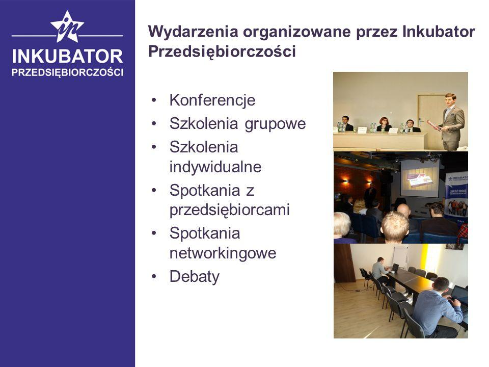 Wydarzenia organizowane przez Inkubator Przedsiębiorczości Konferencje Szkolenia grupowe Szkolenia indywidualne Spotkania z przedsiębiorcami Spotkania networkingowe Debaty