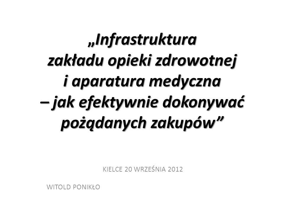 """""""Infrastruktura zakładu opieki zdrowotnej i aparatura medyczna – jak efektywnie dokonywać pożądanych zakupów KIELCE 20 WRZEŚNIA 2012 WITOLD PONIKŁO"""
