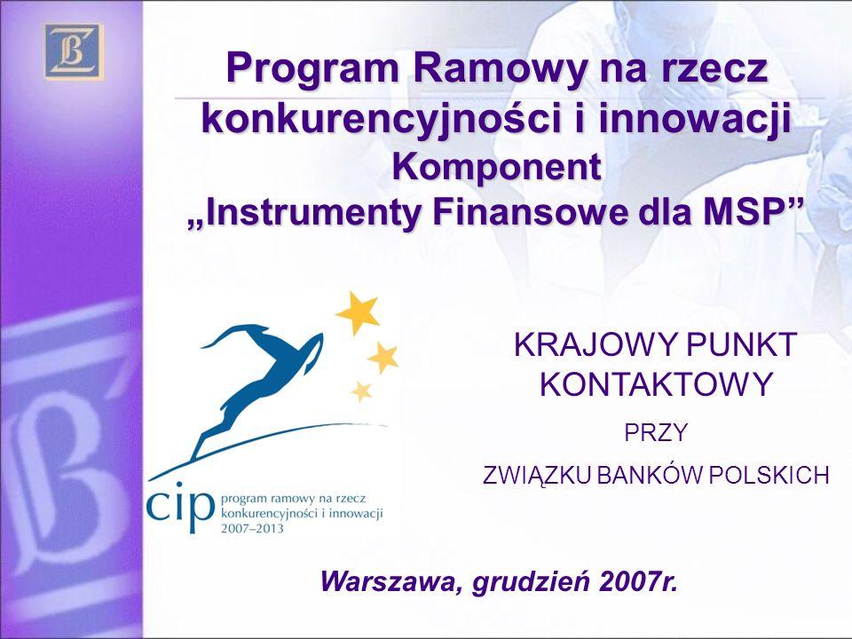 """Program Ramowy na rzecz konkurencyjności i innowacji Komponent """"Instrumenty Finansowe dla MSP KRAJOWY PUNKT KONTAKTOWY PRZY ZWIĄZKU BANKÓW POLSKICH Warszawa, grudzień 2007r."""
