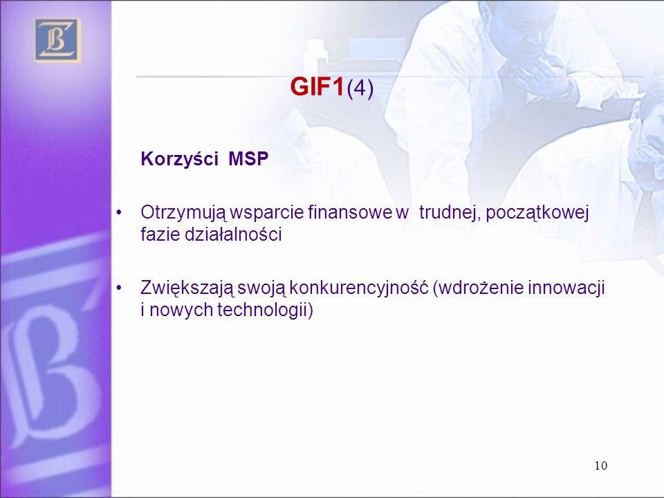 GIF1 (4) Korzyści MSP Otrzymują wsparcie finansowe w trudnej, początkowej fazie działalności Zwiększają swoją konkurencyjność (wdrożenie innowacji i nowych technologii) 10