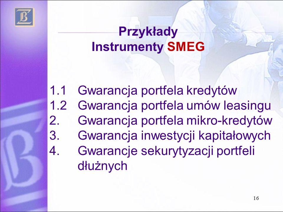 1.1 Gwarancja portfela kredytów 1.2 Gwarancja portfela umów leasingu 2.