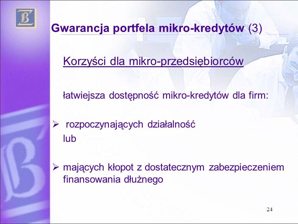 Gwarancja portfela mikro-kredytów (3) Korzyści dla mikro-przedsiębiorców łatwiejsza dostępność mikro-kredytów dla firm:  rozpoczynających działalność lub  mających kłopot z dostatecznym zabezpieczeniem finansowania dłużnego 24