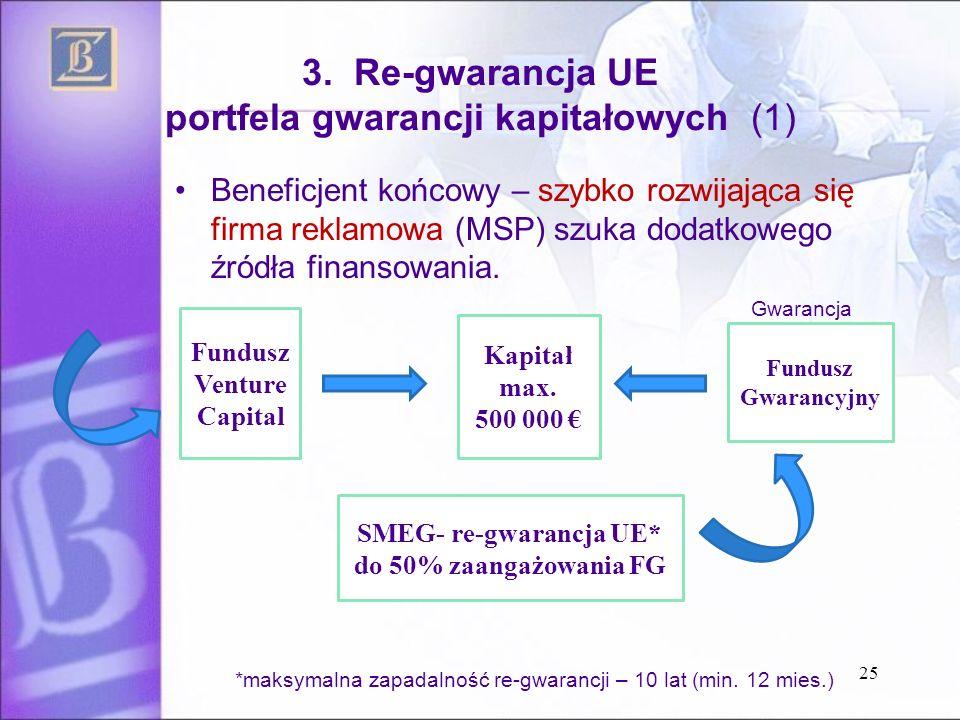 3. Re-gwarancja UE portfela gwarancji kapitałowych (1) Beneficjent końcowy – szybko rozwijająca się firma reklamowa (MSP) szuka dodatkowego źródła fin