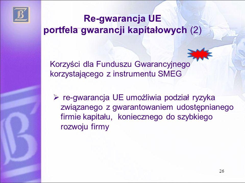Re-gwarancja UE portfela gwarancji kapitałowych (2) Korzyści dla Funduszu Gwarancyjnego korzystającego z instrumentu SMEG  re-gwarancja UE umożliwia podział ryzyka związanego z gwarantowaniem udostępnianego firmie kapitału, koniecznego do szybkiego rozwoju firmy 26