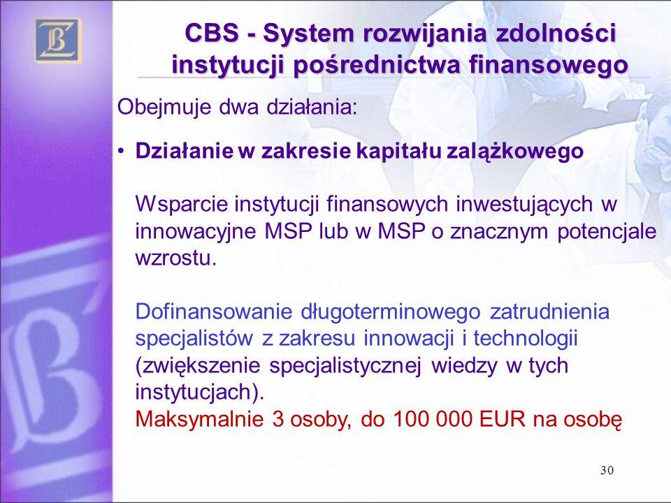 30 CBS - System rozwijania zdolności instytucji pośrednictwa finansowego Obejmuje dwa działania: Działanie w zakresie kapitału zalążkowego Wsparcie instytucji finansowych inwestujących w innowacyjne MSP lub w MSP o znacznym potencjale wzrostu.
