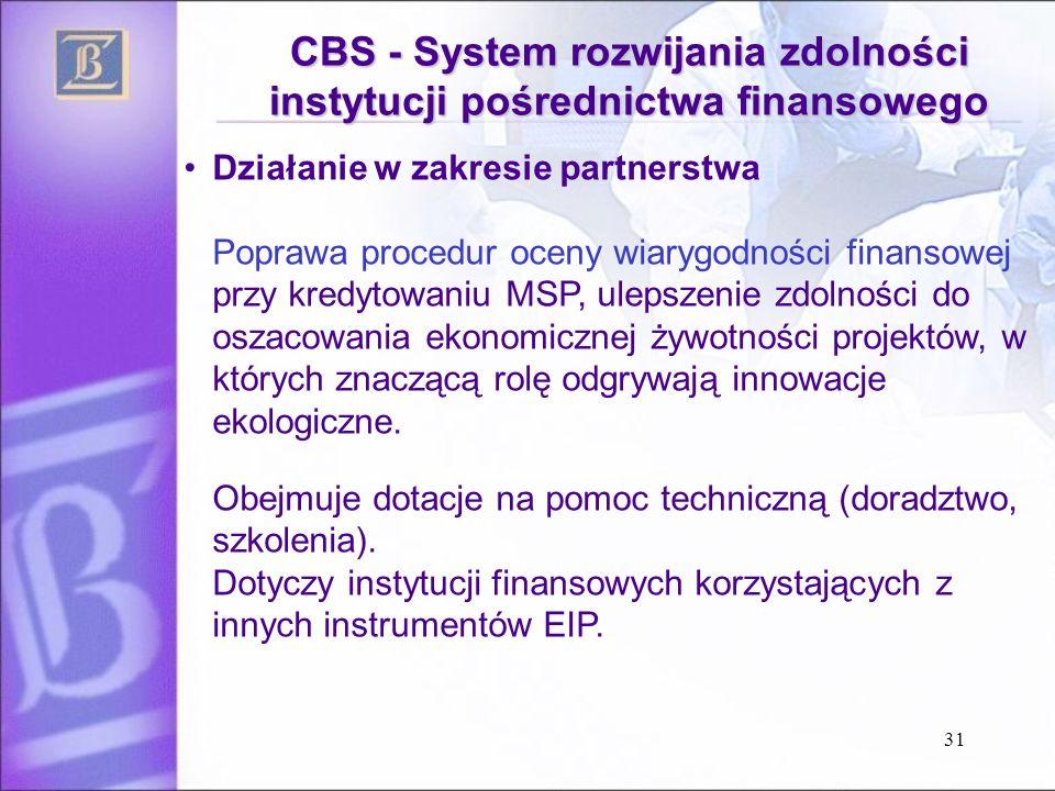 31 CBS - System rozwijania zdolności instytucji pośrednictwa finansowego Działanie w zakresie partnerstwa Poprawa procedur oceny wiarygodności finansowej przy kredytowaniu MSP, ulepszenie zdolności do oszacowania ekonomicznej żywotności projektów, w których znaczącą rolę odgrywają innowacje ekologiczne.