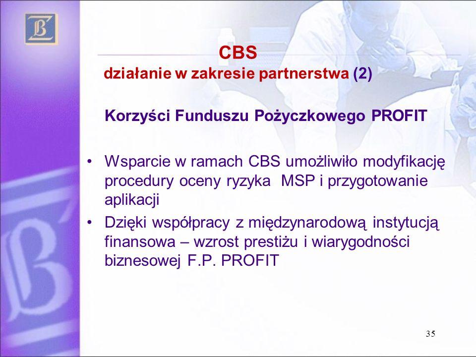 CBS działanie w zakresie partnerstwa (2) Korzyści Funduszu Pożyczkowego PROFIT Wsparcie w ramach CBS umożliwiło modyfikację procedury oceny ryzyka MSP i przygotowanie aplikacji Dzięki współpracy z międzynarodową instytucją finansowa – wzrost prestiżu i wiarygodności biznesowej F.P.