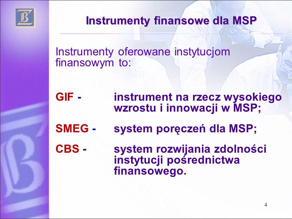4 Instrumenty finansowe dla MSP Instrumenty oferowane instytucjom finansowym to: GIF - instrument na rzecz wysokiego wzrostu i innowacji w MSP; SMEG - system poręczeń dla MSP; CBS - system rozwijania zdolności instytucji pośrednictwa finansowego.