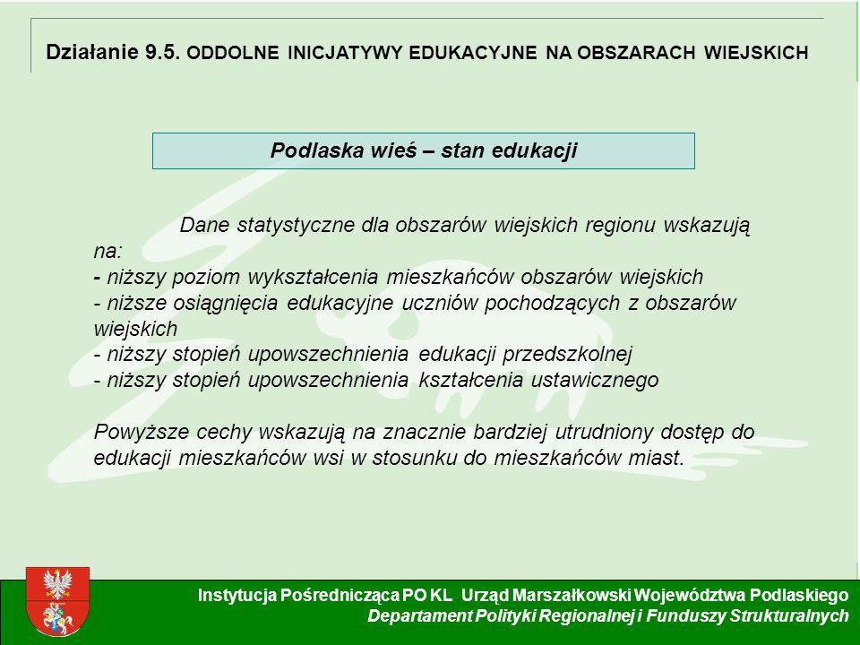 4 Instytucja Pośrednicząca PO KL Urząd Marszałkowski Województwa Podlaskiego Departament Polityki Regionalnej i Funduszy Strukturalnych Działanie 9.5.