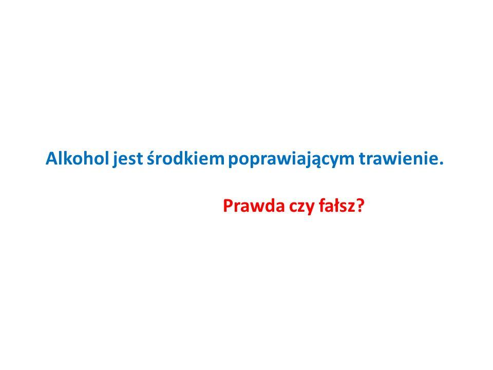 Alkohol jest środkiem poprawiającym trawienie. Prawda czy fałsz