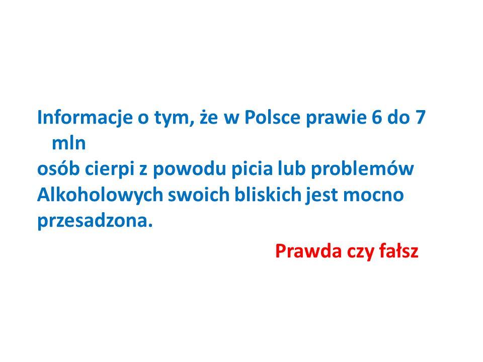 Informacje o tym, że w Polsce prawie 6 do 7 mln osób cierpi z powodu picia lub problemów Alkoholowych swoich bliskich jest mocno przesadzona.