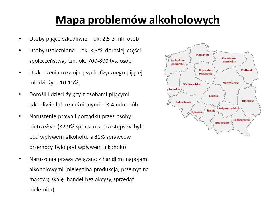 Mapa problemów alkoholowych Osoby pijące szkodliwie – ok.