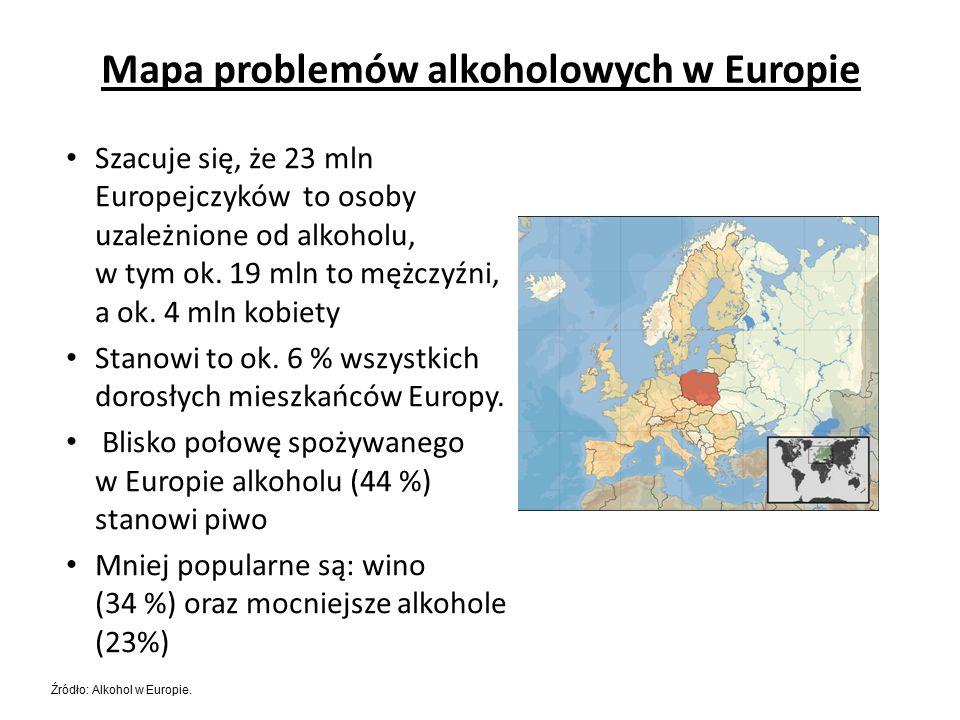 Szacuje się, że 23 mln Europejczyków to osoby uzależnione od alkoholu, w tym ok.