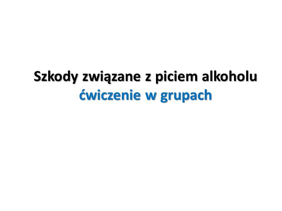 Szkody związane z piciem alkoholu ćwiczenie w grupach