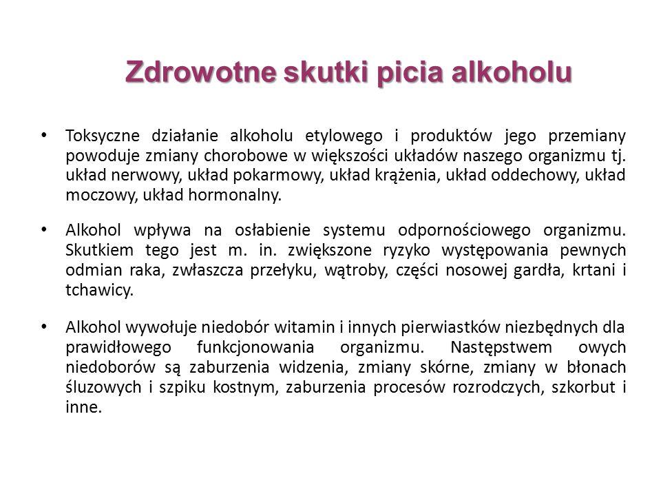 Toksyczne działanie alkoholu etylowego i produktów jego przemiany powoduje zmiany chorobowe w większości układów naszego organizmu tj.