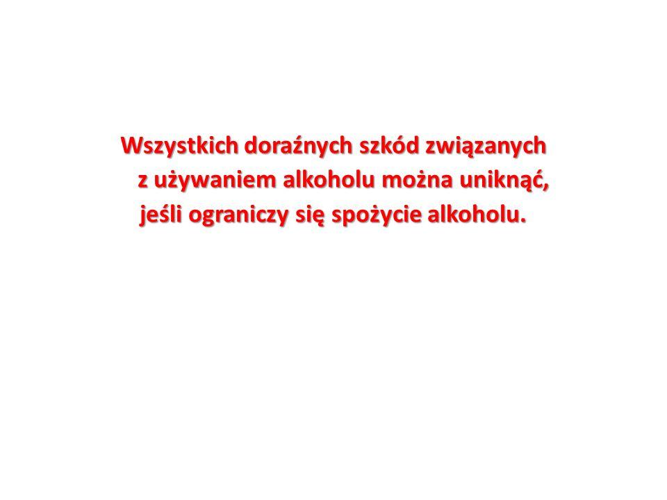 Wszystkich doraźnych szkód związanych z używaniem alkoholu można uniknąć, jeśli ograniczy się spożycie alkoholu.