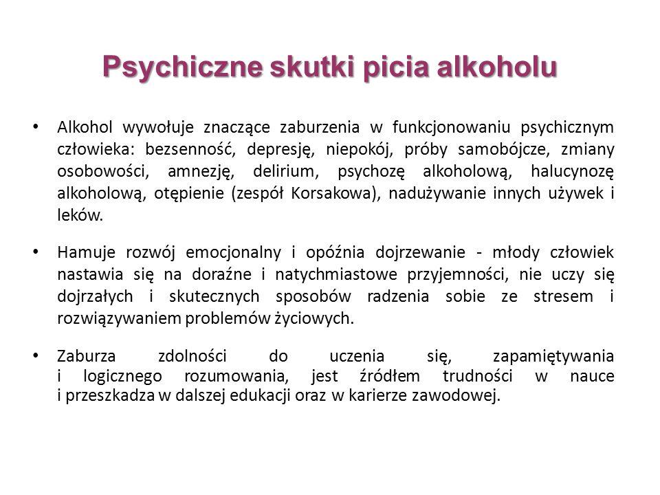 Alkohol wywołuje znaczące zaburzenia w funkcjonowaniu psychicznym człowieka: bezsenność, depresję, niepokój, próby samobójcze, zmiany osobowości, amnezję, delirium, psychozę alkoholową, halucynozę alkoholową, otępienie (zespół Korsakowa), nadużywanie innych używek i leków.