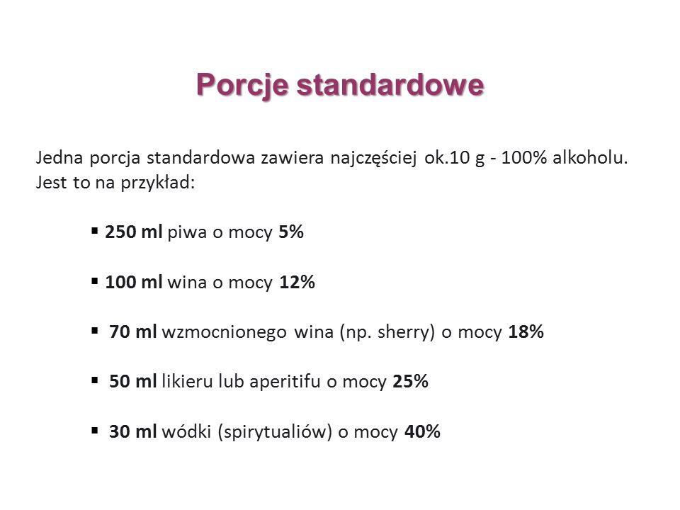 Jedna porcja standardowa zawiera najczęściej ok.10 g - 100% alkoholu.