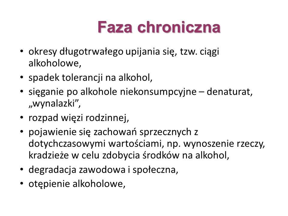 Faza chroniczna okresy długotrwałego upijania się, tzw.