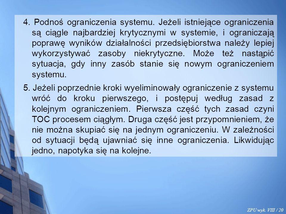 ZPU wyk. VIII / 20 4. Podnoś ograniczenia systemu. Jeżeli istniejące ograniczenia są ciągle najbardziej krytycznymi w systemie, i ograniczają poprawę